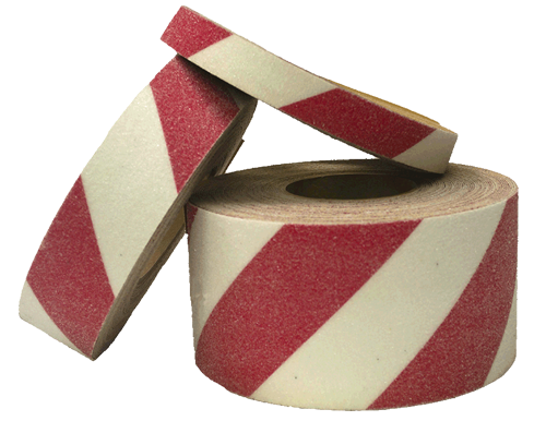 Red and White Hazard Stripe Safety Tape