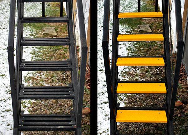 Fiberglass Step Covers on Fire Escape